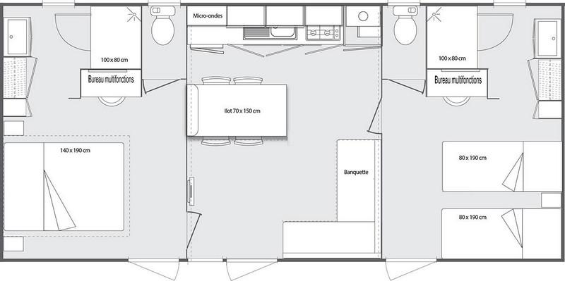 Location mobil home 33 m2 superieur grand confort 2 for Nombre de m2 par personne bureau